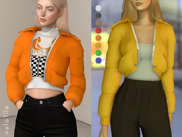 Volatile – Velour Cropped Puffer