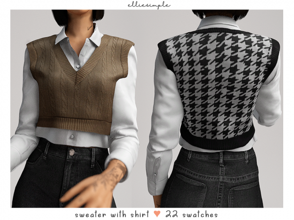 Elliesimple – Sweater with Shirt